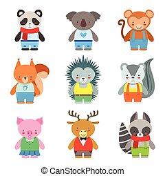 animales del juguete, como, vestido, niños, caracteres, conjunto