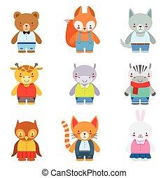 animales del juguete, niños, ropa