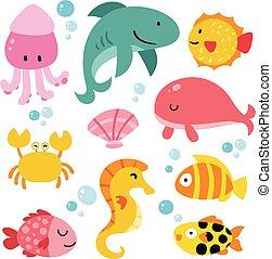 animales, diseño, colección, océano