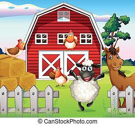 animales, en, el, granja, con, un, barnhouse