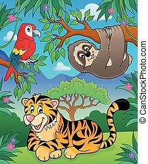animales, en, selva, topic, imagen, 2