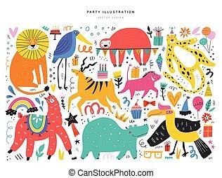 animales, fiesta, símbolos, vector