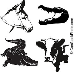 animales, granja, ilustración, siluetas, vector, vario