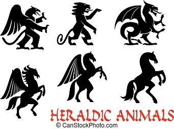 animales, heráldico, emblems., vector, silueta, iconos