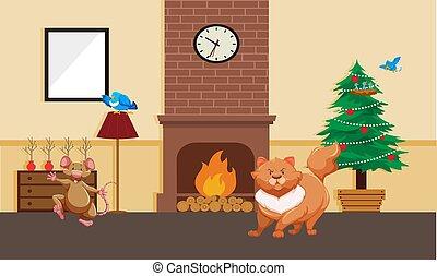 animales, juego, hogar, doméstico