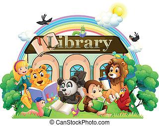 animales, lectura, delante de, el, biblioteca