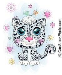 animales, leopardo, style., nieve, caricatura, expresivo, lindo, carácter, infantil, salvaje, eyes.