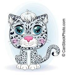 animales, lindo, expresivo, salvaje, caricatura, leopardo, eyes., style., nieve, infantil, carácter