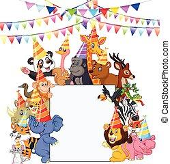 animales, llevando, parte, caricatura, safari