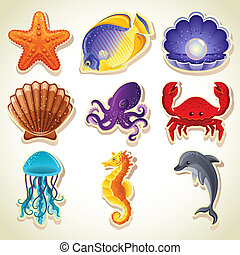 animales, mar, iconos
