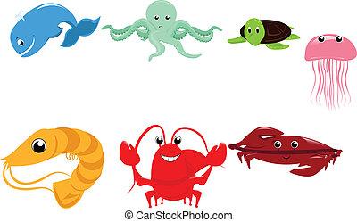 animales marinos, caricatura