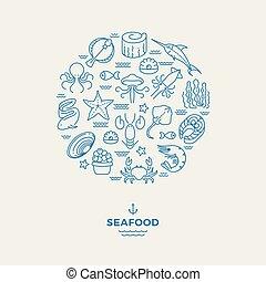 animales marinos, mariscos, línea fina, iconos, en, círculo, design., restaurante, moderno, logotipo