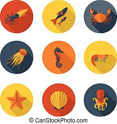 animales marinos, plano, iconos