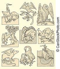 animales, medieval, escenas
