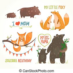 animales, padre, bebé, cumpleaños, bosque, tarjetas, fiesta...