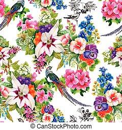 animales, patrón, seamless, acuarela, floral, salvaje, ...