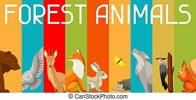 animales, plano de fondo, birds., estilizado, bosque, ilustración, bosque