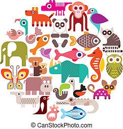 animales, redondo, vector, ilustración