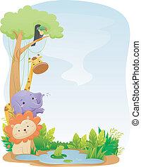 animales, safari, plano de fondo