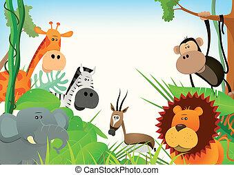 animales salvajes, postal, plano de fondo