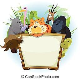 animales salvajes, zoo, señal de madera