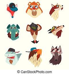 animales, sombreros que usan, y, gafas de sol, hipster, animal, retratos, caricatura, vector, ilustración, en, un, blanco, fondo.