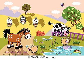 animales, tarde, ilustración, granja, niños