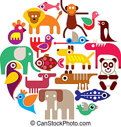 animales, vector, -, redondo, zoo
