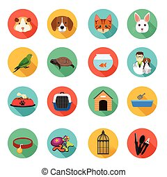 animales, veterinario, plano, iconos