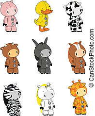 animali, 01, set, cartone animato