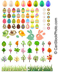 animali, albero, fiori, uova pasqua, collezione, grande