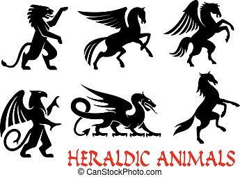 animali, araldico, elementi, silhouette, emblemi