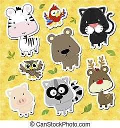 animali bambino, cartone animato, vettore