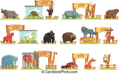 animali, capannone, set, zoo, dietro, selvatico