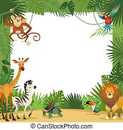 animali, card., bandiera, cornice, augurio, zoo, tropicale, giungla, animale, foglie, bambino, festa, bordo, bambini, sagoma