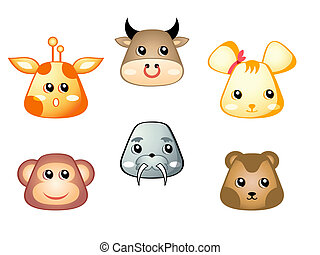 animali, carino, 2, set, |