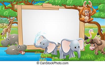 animali, cartone animato, safari, segno