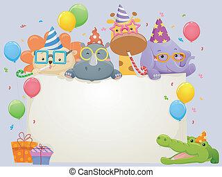 animali, compleanno, bandiera, safari
