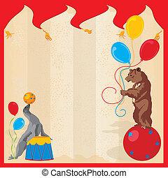 animali eseguire, circo, compleanno