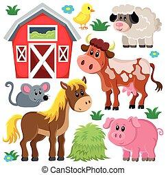 animali fattoria, 2, set