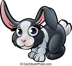 animali fattoria, carattere, cartone animato, coniglio