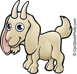 animali fattoria, carattere, goat, cartone animato