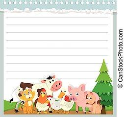 animali fattoria, carta, disegno