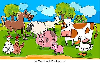 animali fattoria, cartone animato, illustrazione