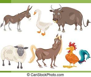 animali fattoria, cartone animato, set, illustrazione