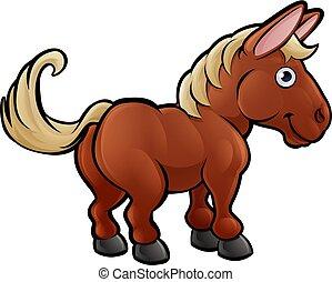 animali fattoria, cavallo, carattere, cartone animato