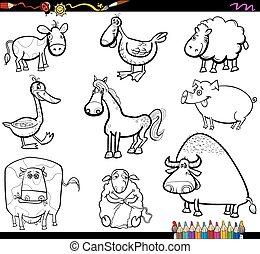 animali fattoria, coloritura, set, libro