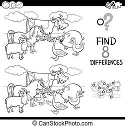 animali, fattoria, differenze, colorare, libro, attività