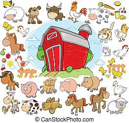 animali fattoria, disegno, vettore, set