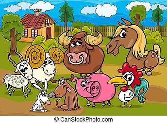 animali fattoria, gruppo, cartone animato, illustrazione